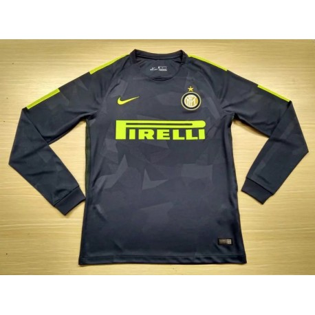 Size:17-18 Inter Third Black Long Sleeve Socer Jerse