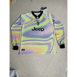 Size:18-19 Juventus EA Sports Fluorescent Green Jersey With Black Collar Long Sleeve