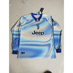 Size:18-19 Juventus EA Sports Jersey With Blue Collar Long Sleeve