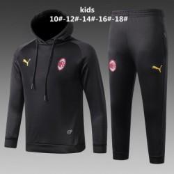 AC Milan Black Hoodie Suit 20 Size:18-201