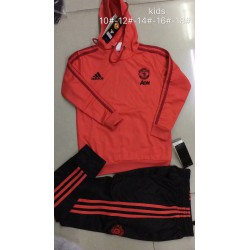 Kids-Replica-Football-Kits-Kids-Replica-Rugby-Shirts-Size18-19-manutd-red-kid-hooded-training-suit